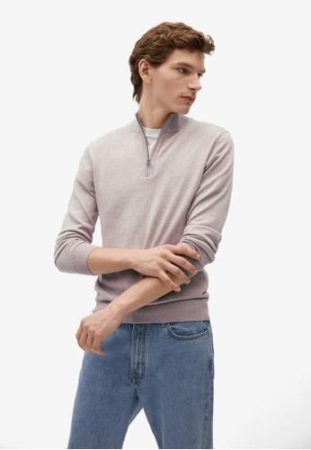 MANGO Man brown Zipper Cashmere Cotton Sweater 65A53AACA60A4CGS_1