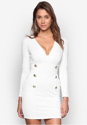 雙排扣低胸連身裙,esprit 會員 服飾, 洋裝