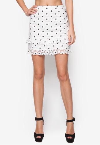歐根紗花卉短裙,zalora 折扣碼 服飾, 裙子