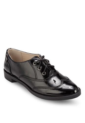 漆皮繫esprit hk outlet帶德比短靴, 女鞋, 鞋