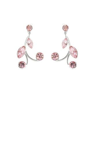 Glamorousky pink Pink Leaves Earrings with Pink Austrian Element Crystals 0D932AC5EED353GS_1