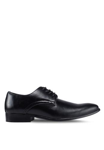 UniqTee black Plain Toe Lace Up Derby Shoes 81C71SH13F90C5GS_1