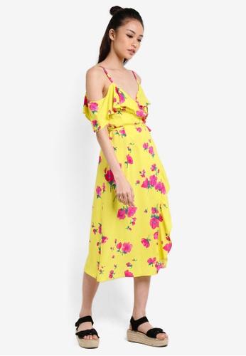 WAREHOUSE yellow Delia Flower Frill Wrap Dress WA653AA92UPBMY_1