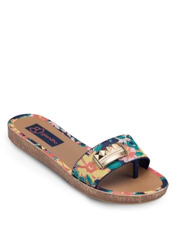 印花esprit分店地址一字帶涼鞋, 女鞋, 懶人鞋