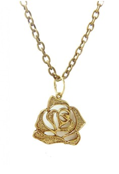 Vintage Rose Silhoutte Pendant Necklace