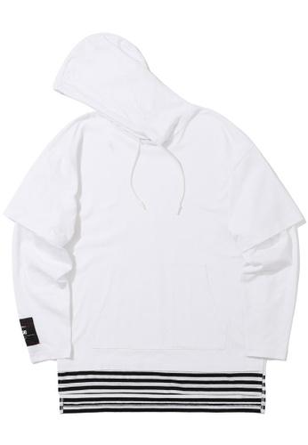 izzue white Stripe layered hoodie DD3FBAAA3CA073GS_1
