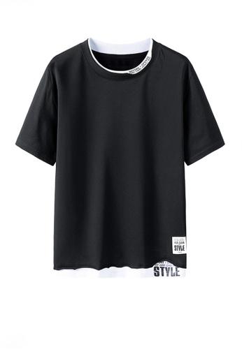 Twenty Eight Shoes black VANSA Fashion Short Sleeve Tee Shirt VCM-T2170 19E36AA5E97004GS_1
