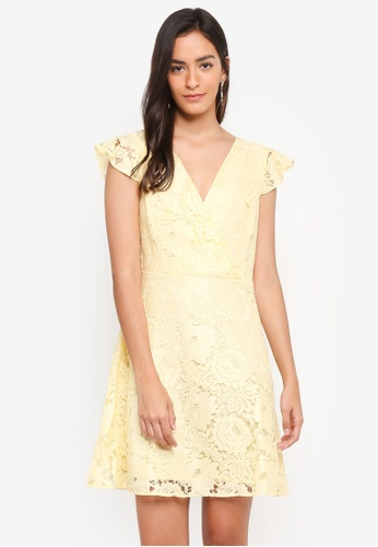 Dorothy Perkins yellow Yellow Lace Ruffle Midi Dress 1BDEEAA724A37EGS_1