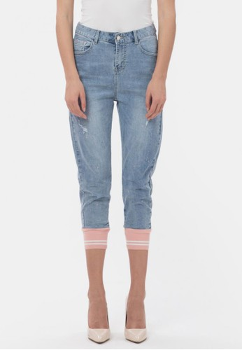 MKY CLOTHING blue Line Pink Rib Jeans 93812AAD67FE5AGS_1