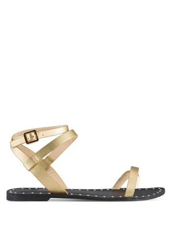 Something Borrowed gold Ankle Wrap Flat Sandals F8F01SHB2F09C6GS_1