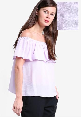 Dorothy Perkins purple Lilac Ruffle Bardot Top DO816AA40CALMY_1