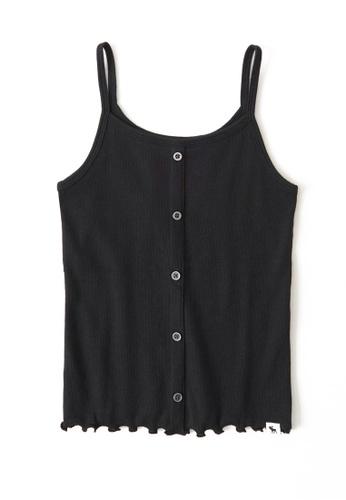 Abercrombie & Fitch black Button Thru Rib Cami Top CD7ADKA4698182GS_1