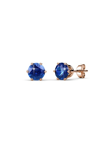 Her Jewellery blue and gold Birth Stone Earrings (September, Rose Gold) - Made with premium grade crystals from Austria 3C57BAC4EBF623GS_1