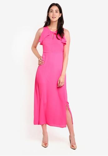 Dorothy Perkins pink Petite Magenta Ruffle Maxi Dress DO816AA00GVZMY_1