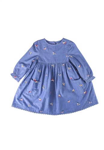 Cath Kidston blue Rollerskates Embroidered Chambray Dress CB86FKA54C2BBCGS_1