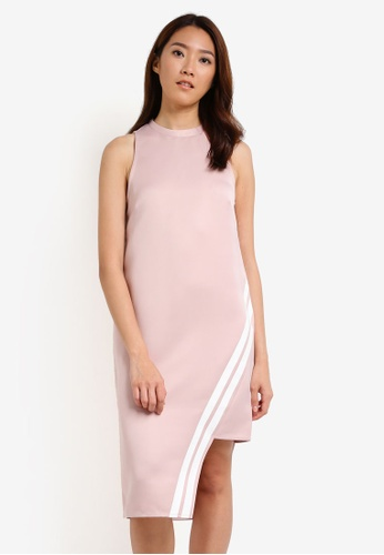 Something Borrowed pink Stripe Trim Asymmetric Dress 6C09AZZF579995GS_1