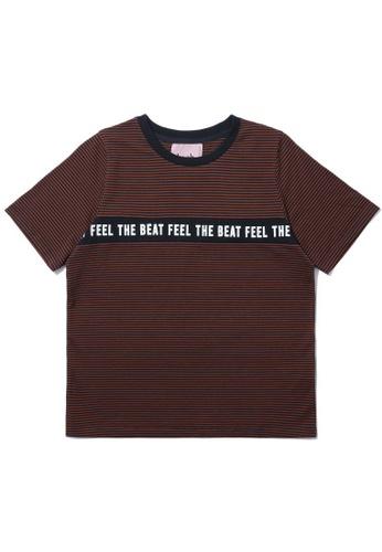 "b+ab brown ""Feel The Beat"" stripe tee 6797DAAF8865A9GS_1"