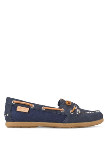 SPERRY navy Coil Ivy Leather/Canvas Loafers SP132SH70BHDMY_1