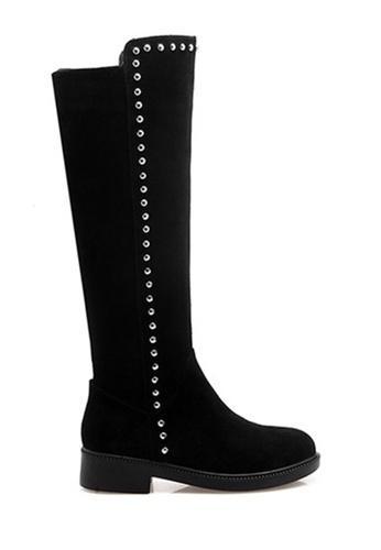 Twenty Eight Shoes 黑色 牛絨鉚釘真皮靴 VB9045 F5C2BSH4A734FAGS_1