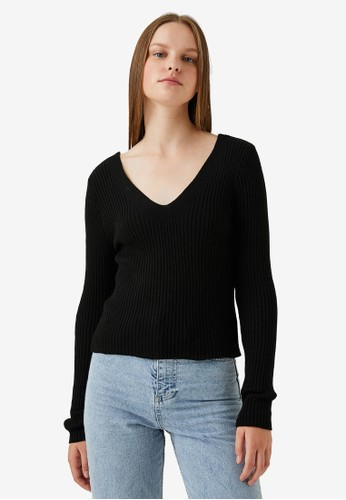 KOTON black V-Neck Long Sleeves Pullover C56E5AA45DA68FGS_1