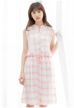 [IMPORTED] Plaid Superstar Cotton Dress - Pink