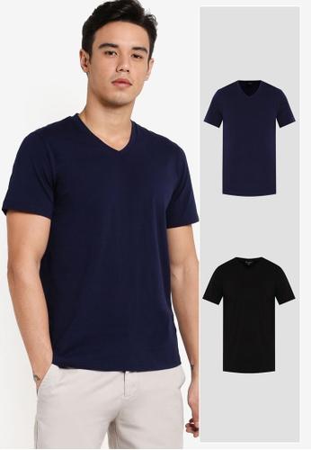 ZALORA black and navy 2 Pack Cotton V Neck Short Sleeve Tee ZA819AA31JIEMY_1