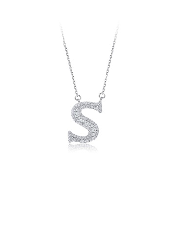 Glamorousky white 925 Sterling Silver Fashion Personality English Alphabet S Cubic Zircon Necklace 378A8ACCCA7C57GS_1