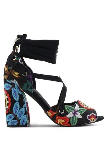 TOPSHOP black Rhapsody Embroidered Peep Toe Heels TO412SH00RIDMY_1