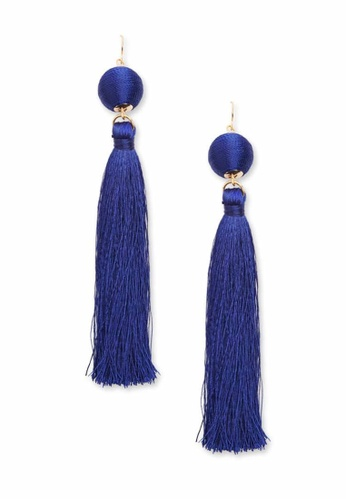 LUCCACAL blue Blue Bauble & Tassel Drop Earrings E8AD7AC8167DD4GS_1