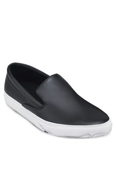 Faux Leather Slip-Ons With Marble Effect Outsoles