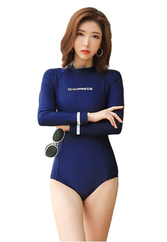 Halo 海軍藍色 長袖防曬泳衣 E53D3US3B61D83GS_1