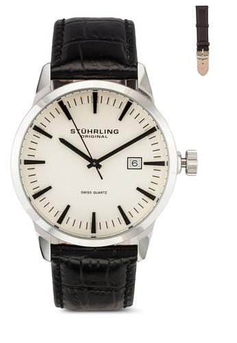Stuhrling Original black Black Alligator Watch Set ST251AC0RFIXMY_1
