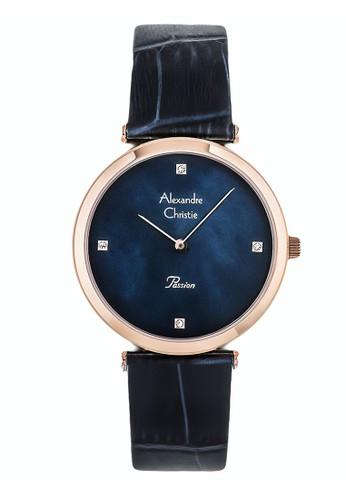 Alexandre Christie blue Alexandre Christie Jam Tangan Wanita - Blue Rosegold - Leather Strap - 8577 LHLRGMU 1492EAC39E8BAEGS_1