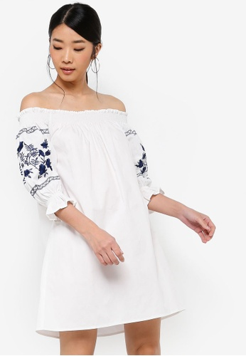 Something Borrowed white Embroidered Smocked Off Shoulder Dress 595C9AA120EF0CGS_1