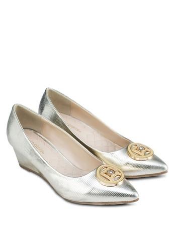 金飾尖頭楔型跟zalora開箱鞋, 女鞋, 鞋
