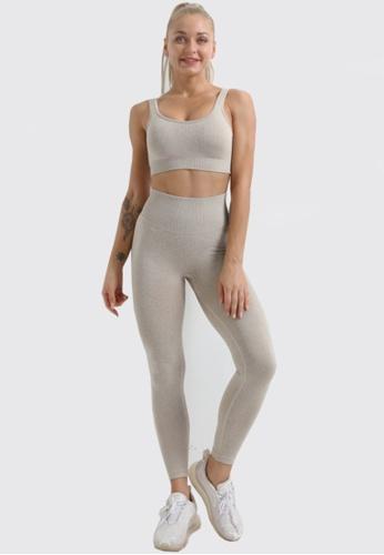 Twenty Eight Shoes brown VANSA Pure Color Vest Yoga Set  VPW-Y555 6D394AAF1BE1F5GS_1