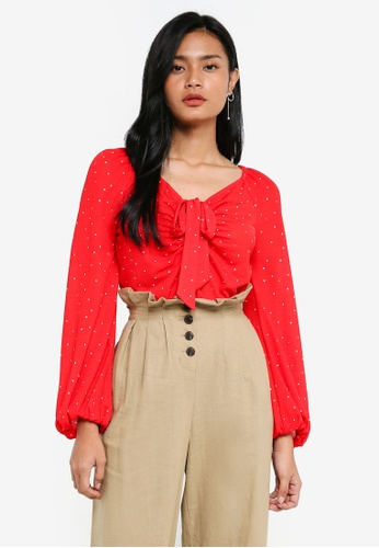 TOPSHOP red Polka Dot Tie Front T-Shirt 24D2CAA8BF4800GS_1