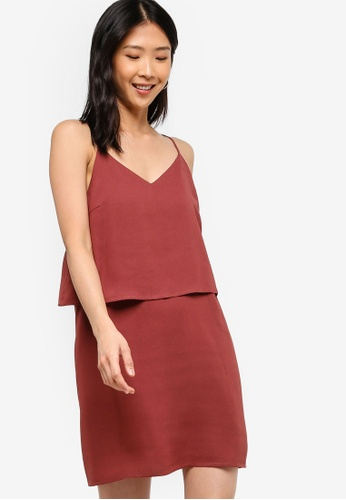 ZALORA BASICS pink Basic Double Cami Strappy Dress BB45BAAD6E0171GS_1