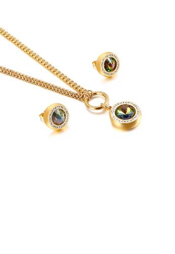 Glamorousky 多色 時尚簡約鍍金色幾何圓形彩色鋯石316L鋼項鏈和耳釘套裝 B07D9ACC16CA17GS_1