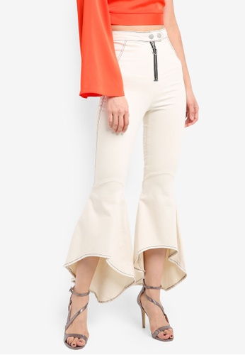 TOPSHOP white and beige Stitch Mermaid Flare Pants TO412AA0SRRUMY_1