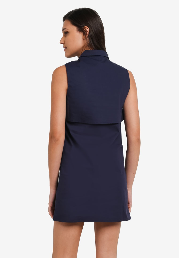Sleeveless Dress Borrowed Layered Shirt Navy Something rnARw4rfq1