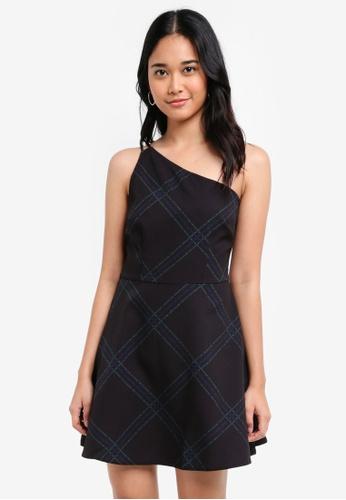 Something Borrowed black Asymmetric Toga Mini Dress 56E94AA1C380F9GS_1