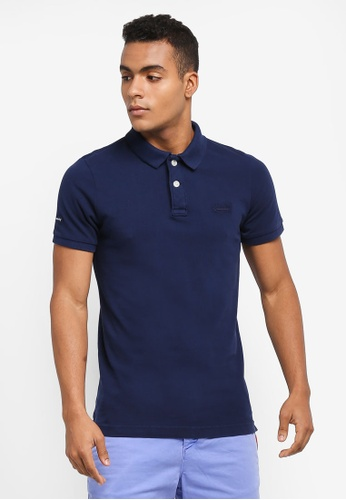 Superdry blue VINTAGE DESTROY S/S PIQUE POLO B7041AA960962AGS_1