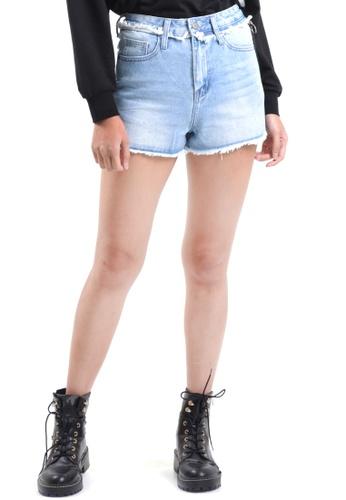 Kitschen blue Side Zipper Fringed Denim Shorts 5C430AA2B78162GS_1