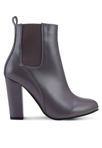 ZALORA 灰色 時尚粗跟踝靴 7C20DSHD0E9F3CGS_1