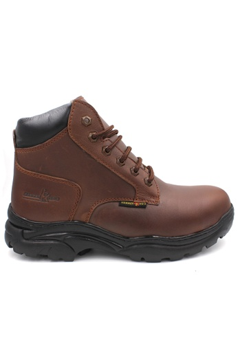 midzone brown Safety Steel Toe Steel Plate Anti Slip Genuine Leather Boots - Brown MZHK13014 8D4C3SH97455A8GS_1