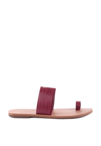 Anacapri 紅色 Leather Flat Sandals 272F6SH6A3D165GS_1