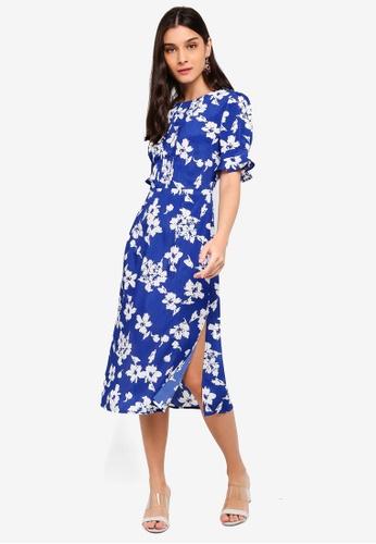 ZALORA white and blue Pleats Details Dress 2A308AA57097C7GS_1
