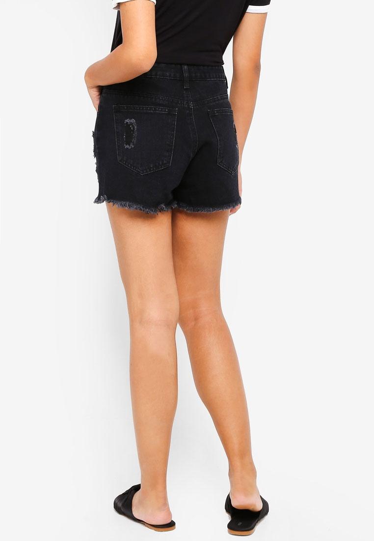 Destroyed Denim Borrowed Shorts Black Something Z5AqpA