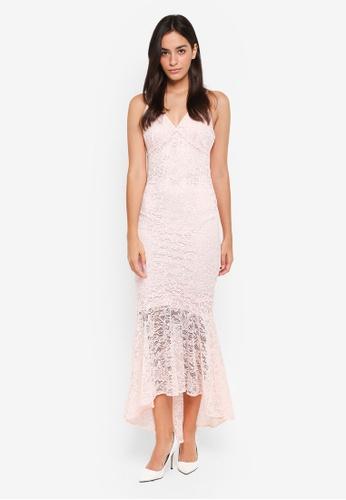 Miss Selfridge beige Nude Lace Fishtail Dress 93C23AA4B86099GS_1